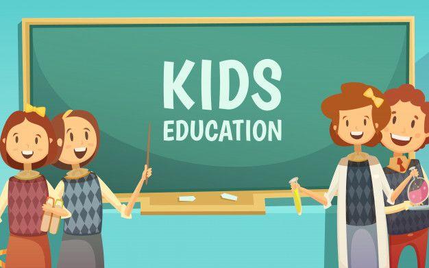 Baixe Cartaz De Desenho Animado De Educacao De Criancas Do Ensino Fundamental E Medio Com Criancas Felizes Em Sala De Aula Por Giz Gratuitamente Educacion Infantil Ensenanza Primaria Ninos Felices