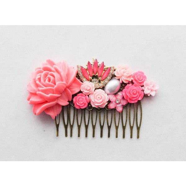 Decorative Comb Pink Rose Hair Clip Pink Rose Decorative Hair Comb... ($45) ❤ liked on Polyvore featuring accessories, hair accessories, grey, hair combs, barrette hair clip, hair clip comb, flower hair comb and vintage hair accessories