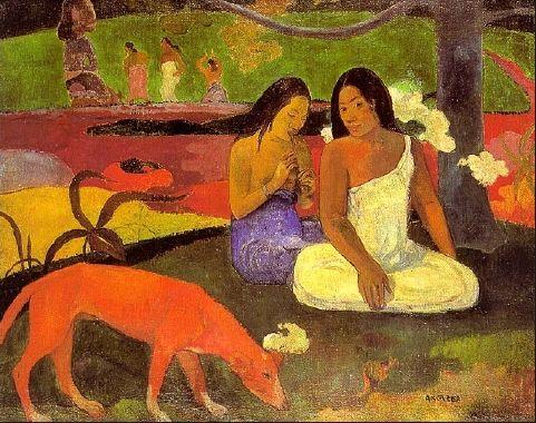 고갱, 아레아아레아(기쁨)  타히티 원주민의 순수함과 천진함을 그림.