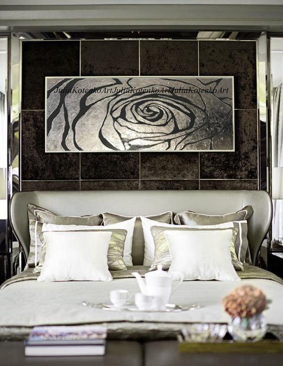 Dipinto d'argento Rosa Fiore Pittura, Argento Foglia Arte ...