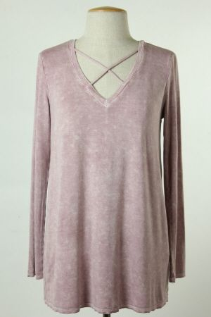 Final Touch Collection - garment dyed cross front knit top.
