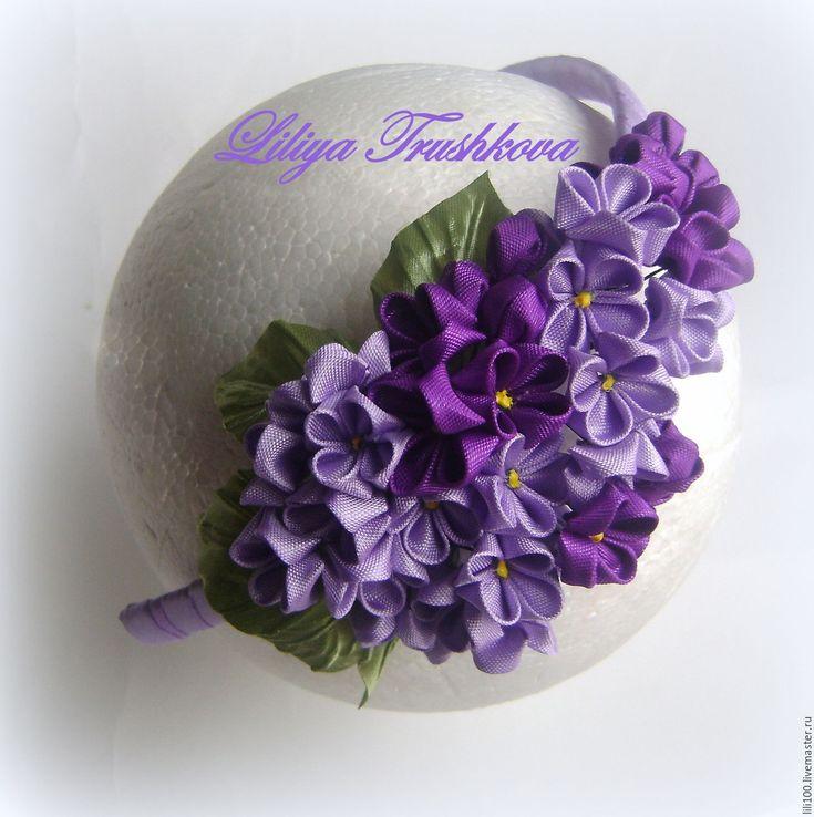 """Купить Ободок """"Сирень"""" - сиреневый, цветочный, сирень, весна, ободок для девочки, атласная лента"""