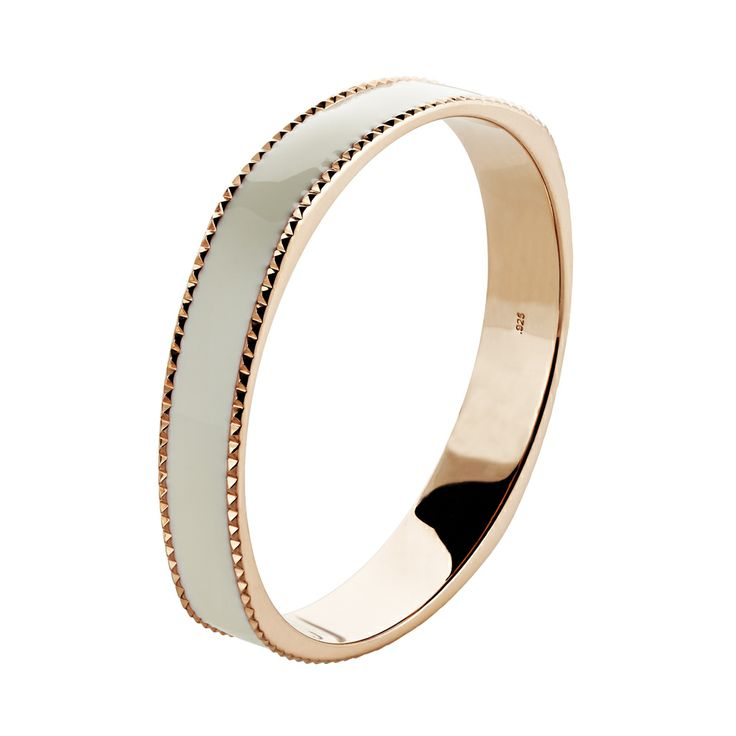 Oxette rose Gold plated with white enamel Bracelet - Available here:http://www.oxette.gr/kosmimata/vrahiolia/iprg-bracelet-white-enamel-oxette-117l-1/