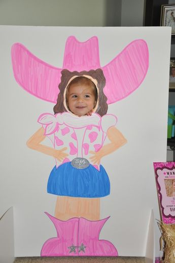 inspiration: pink cowgirl party photo stand-in. (Need cowgirl partyware? Find it here: http://kidspartyware.blogspot.com/2011/02/pink-cowgirl-party.html)