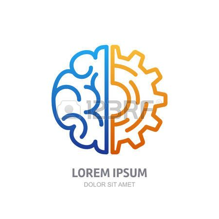 logo science: Vector logo icône avec le cerveau et rouage engrenage. Résumé aperçu illustration. Le concept du design de solutions d'affaires, la haute technologie, le développement, l'invention et l'innovation, la créativité, des thèmes scientifiques.