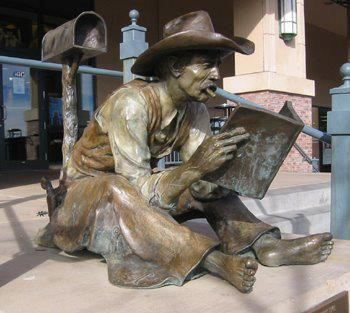 943455_574247022605980_386242110_n.jpg (350×313)  About the bronze statue of the barefoot cowboy reading a book, this magnificent sculpture is located in Colorado.