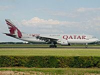 Qatar Airways Cargo (QA) Airbus A300B4-622R(F) A7-ABX aircraft, named ''Al Dawha'', skating at Italy Milan Malpensa International Airport. 12/09/2010. (Al Dawha=a Palestinian area in Beit Jala). (The plane has been stored at England Bruntigthorpe aerodrome 19/11/2013).