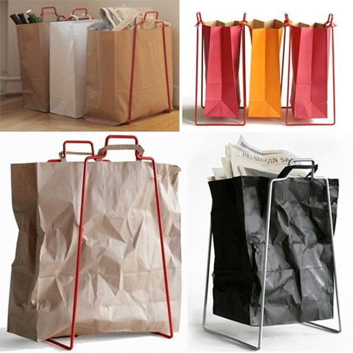 Recycling Frame utilizes standard grocery bags.