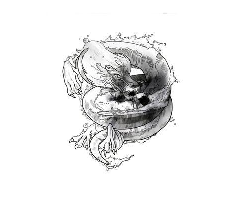 """Ocean Dragon"" paper, watercolor A3  #SURF ART #ART #ILLUSTRATION #DRAWING #DRAW #PAPERWORK #LONGBOARD #SURF #WAVE #B&W"