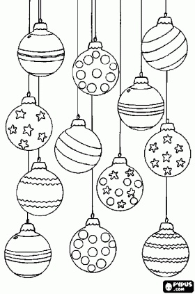 Set of Christmas baubles or balls with different decorations coloring page - bjl