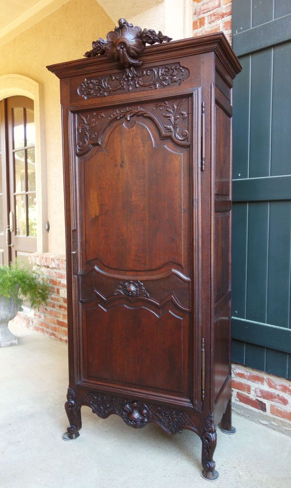 Antique French Carved Dark Oak Armoire Linen Closet Bonnetiere Louis XV  Cabinet #LouisXV - 81 Best Antique French Furniture & Home Decor Images On Pinterest