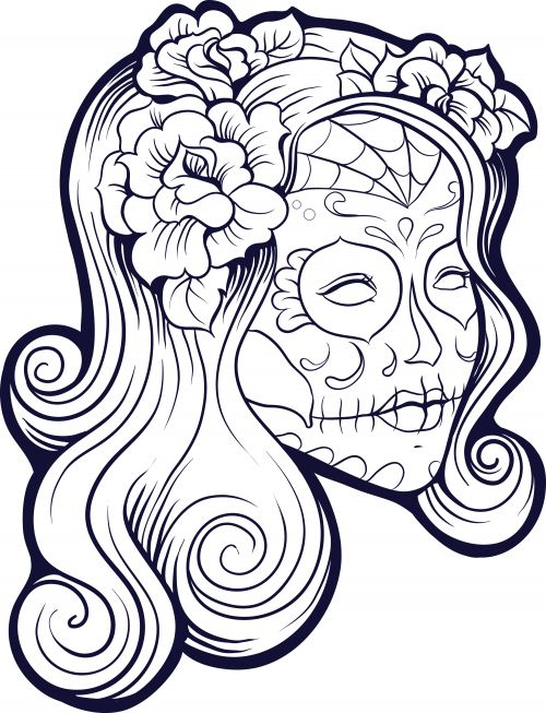 imagine the masterpiece your little one can create with this free sugar skull advanced coloring page