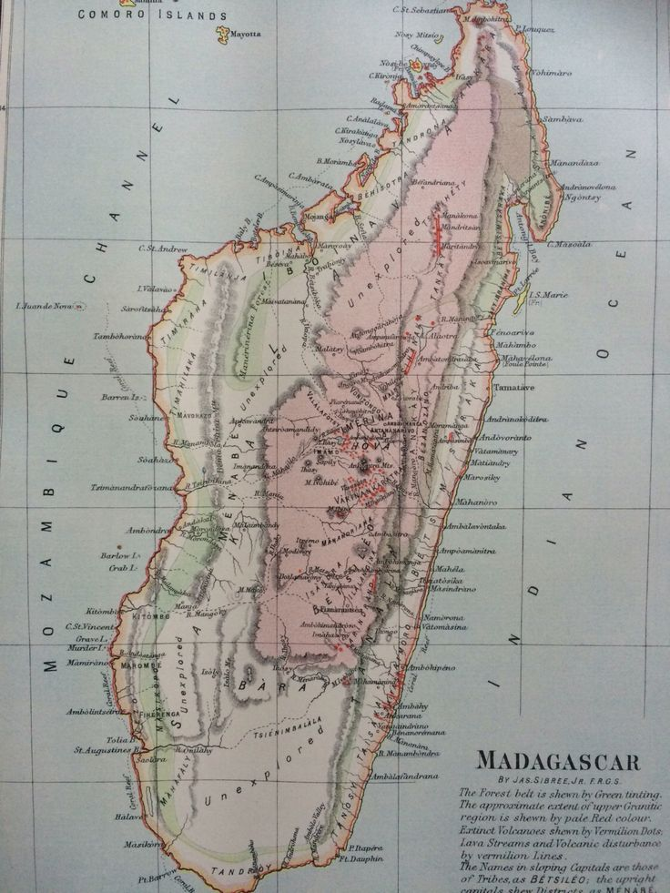 1875 MADAGASCAR original antique map cartography geography