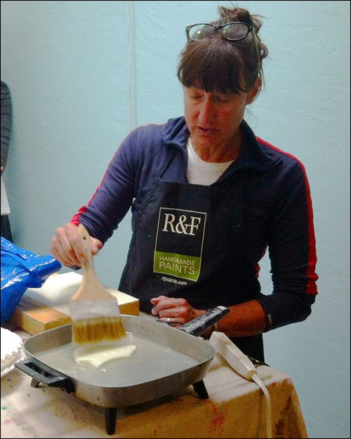 Shawna Moore teaches encaustic art to students in Telluride Colorado, http://emptyeasel.com/2014/08/04/a-beginners-guide-to-encaustic-art-and-painting-with-wax/