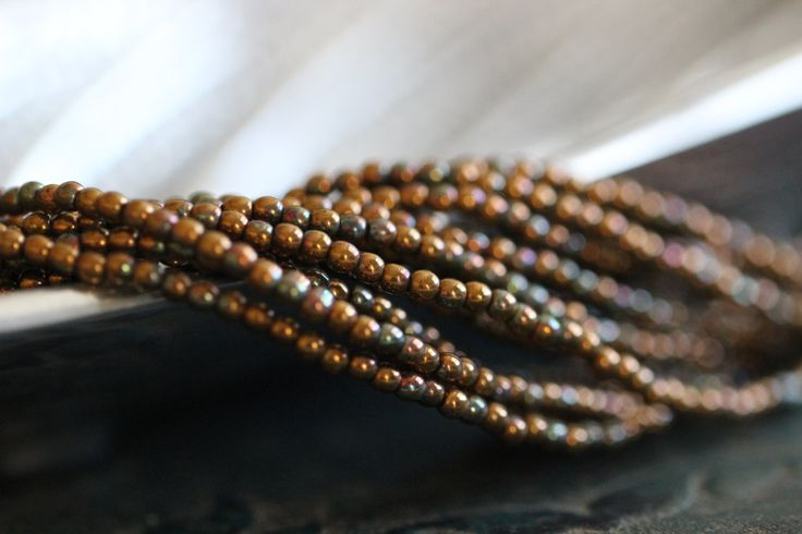 2mm, Round Druk, Bronze Patina, Metallic, Czech Glass, Beads, Faceted, Round, Tiny, Seed Beads, 9 inch strand by StoneCreekSurplus on Etsy