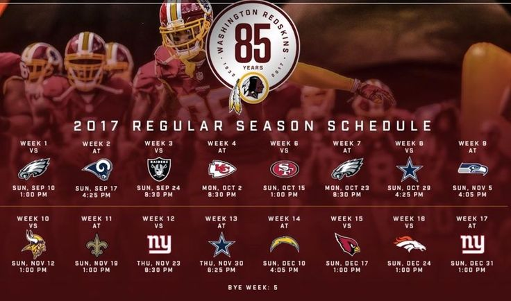 "2017-18 WASHINGTON REDSKINS NFL FOOTBALL  SCHEDULE FRIDGE MAGNET (LARGE 4""X5"")"