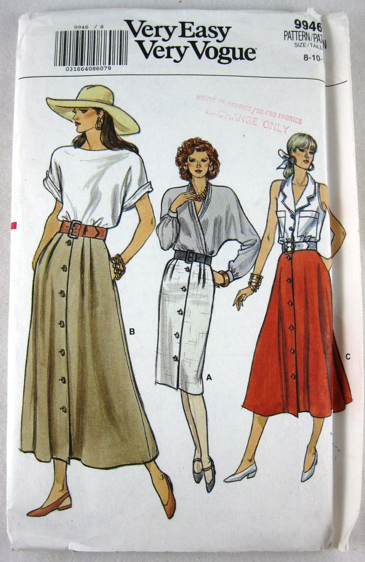 Very Easy Vogue 1980's Pattern No. 9946  Country Woman Skirt UnCut/Factory Folded Size 8,10,12. $6.95, via Etsy.