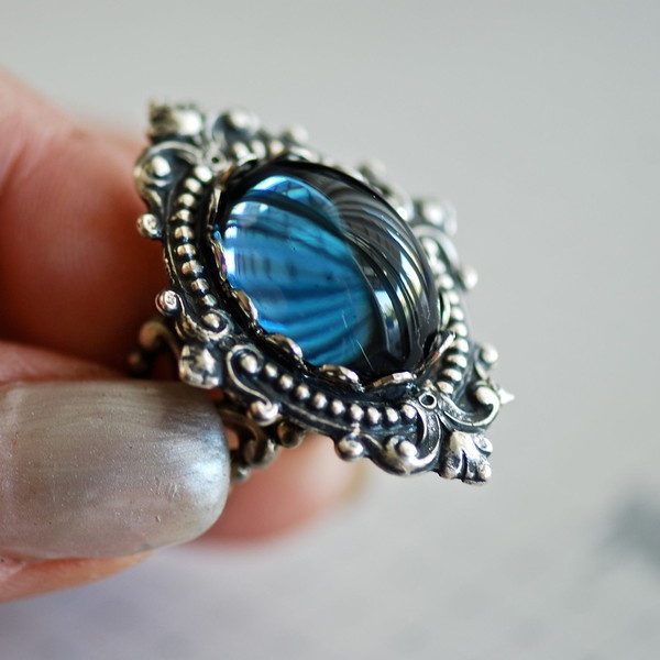 Mystic Falls - VIctorian Goth Swarovski Cameo Ring - SOLDERED - Made... ($26) ❤ liked on Polyvore