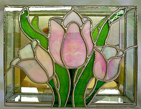 STAINED GLASS Jewelry BOX Tulip Time by glassmagic on Etsy, $65.00