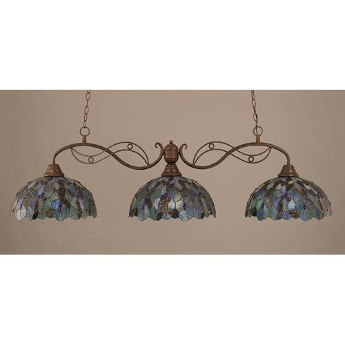 Jazz Bronze Three-Light Island Pendant with 16-Inch Blue Mosaic Tiffany Glass - Breakfast table?  Bellacor Number: 611099