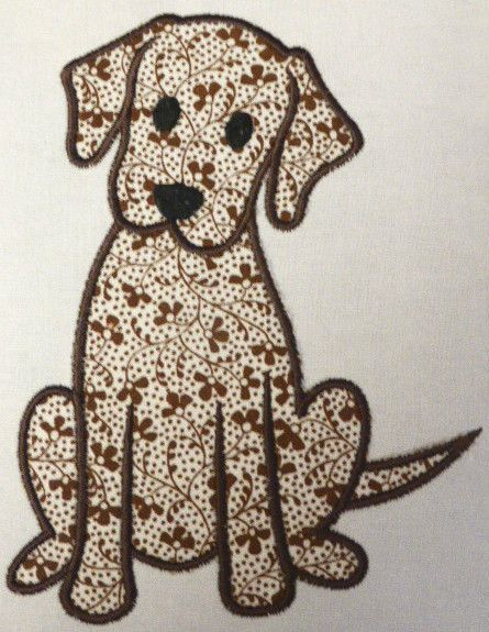 Labrador Puppy Dog ~ Embroidered Applique Quilt Block/Panel