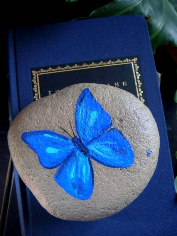 Blue Butterfly Rock Paperweight by whimsytwo on Etsy