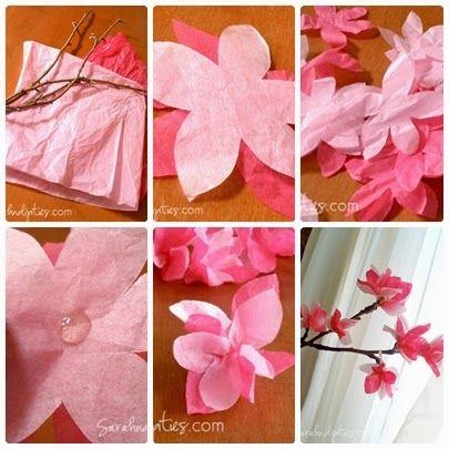 Como fazer cerejeira com galho seco e papel de seda - Artesanato na Prática