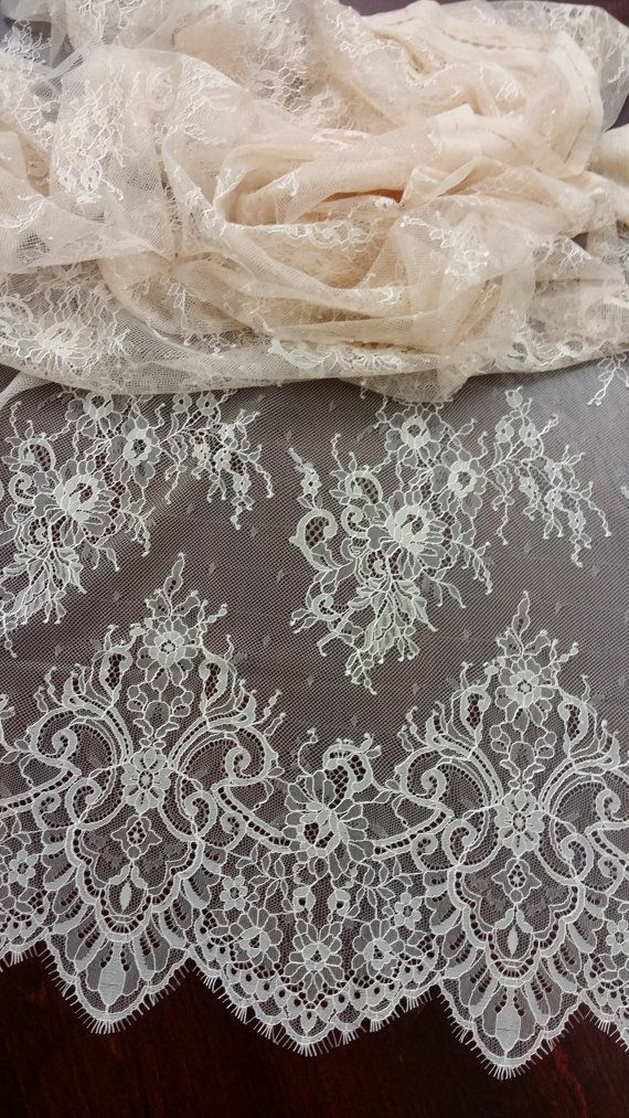Pink lace fabric by the yard, French Lace, Chantilly Lace, Bridal Wedding Dress Lace, Mantilla Veil lace, Embroidered lace, Scalloped Lace