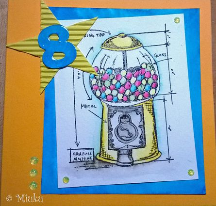 Tim Holtz blueprint stamp. Card for boy. Bubblegum machine. / Kortti pojalle. Purkkapallokone.