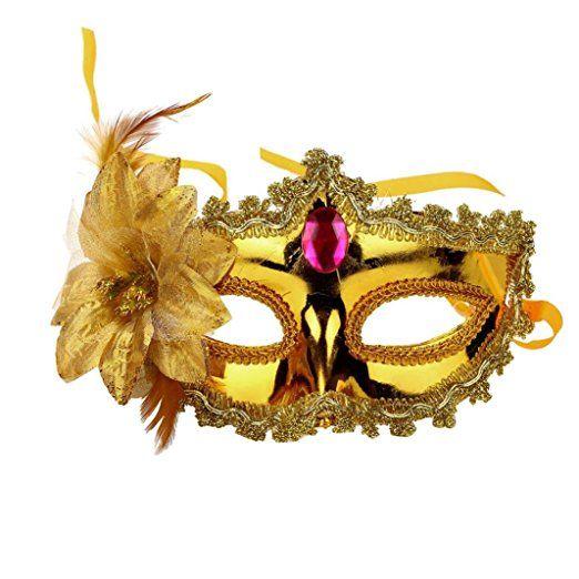 Damen Party Maske, CICIYONER Halloween Kostüm Venezianische Maskerade Prom Maske (Gold)