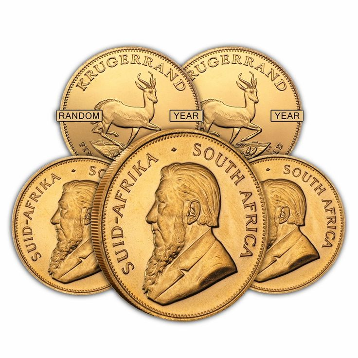 Lot of 5 - 1 oz South African Krugerrand Gold Coin (Random Year)