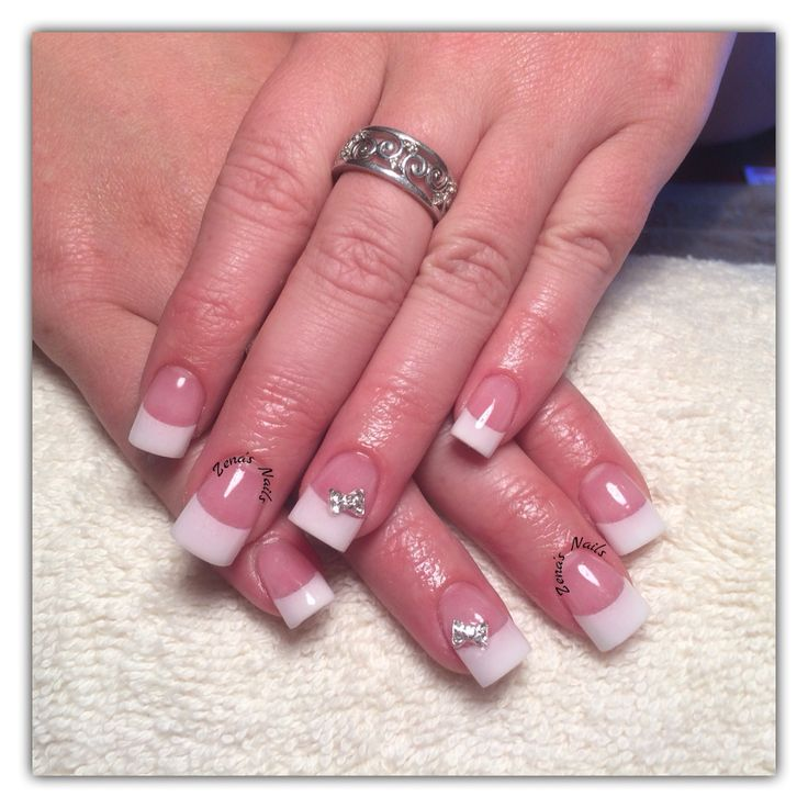Classic French white acrylic nails