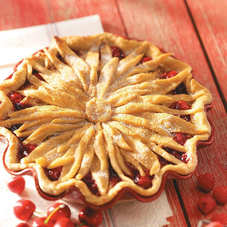 Cherry-Berry Streusel Pie Recipe -I entered this delicious pie in the Oklahoma State Fair and won a ribbon. It's very pretty and tastes great, especially served with a scoop of vanilla ice cream. —Rosalie Seebeck, Bethany, Oklahoma