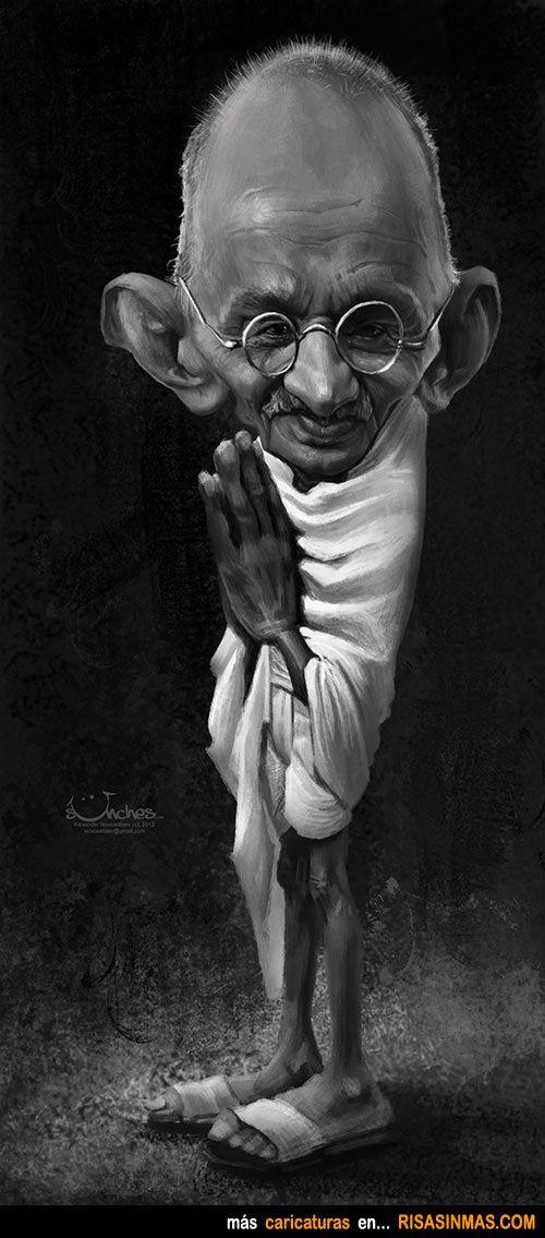 Caricatura de Mahatma Gandhi.
