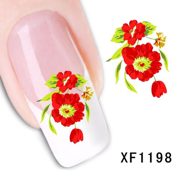 [Visit to Buy] flower design Water Transfer Nails Art Sticker decals lady women manicure tools Nail Wraps Decals wholesale XF1198 #Advertisement