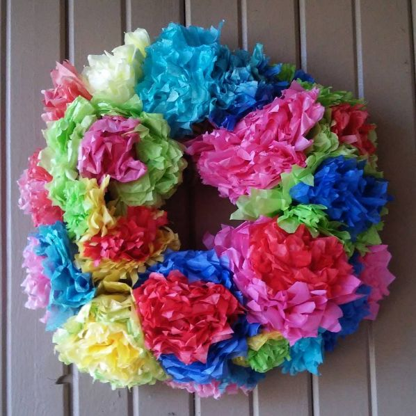 DIY this colorful, Mexican-inspired decoration using a reed wreath and tissue paper. | 21 Ingenious Dollar Store Ideas You'll Want To Try