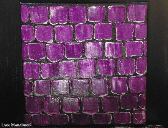 Purple & Silver Abstract Square Painting 8x8 by LoveHandyWork