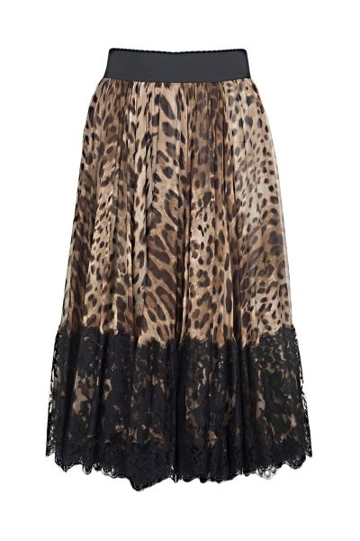 Dolce & Gabbana silk skirt with leopard print, lace detail at the bottom, and elasticated waistband  The model is 1,75m tall and is wearing size 38