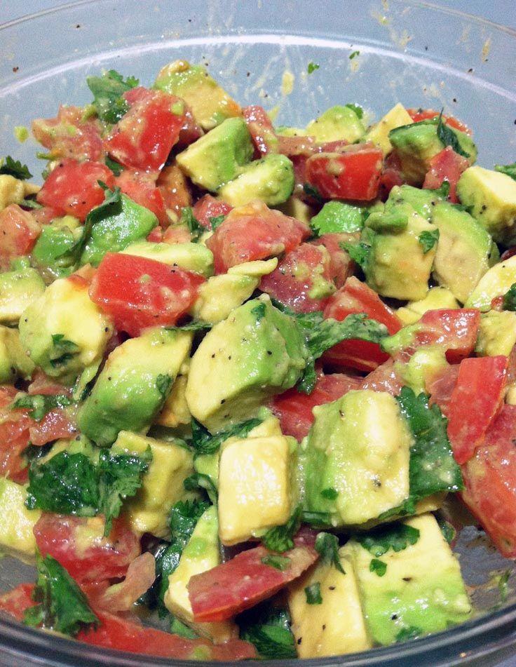 This is AWESOME!!! Avocado Tomato Salad. --avocado, tomato,  cilantro, salt, pepper & olive oil  & lemon juice,   Mmm.... Hello, Summer!