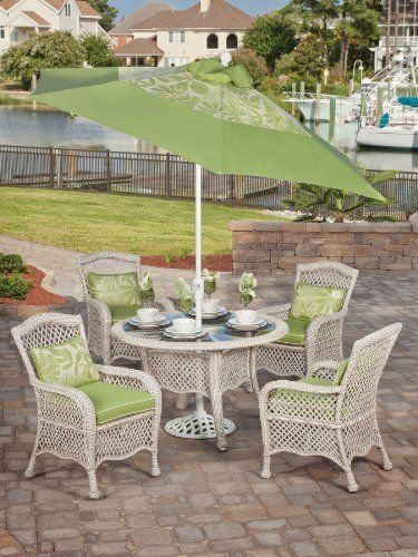 5pc Pebble Isle Resin Wicker Outdoor Glass Top Dining Set Patio Furniture  By Max Stores.