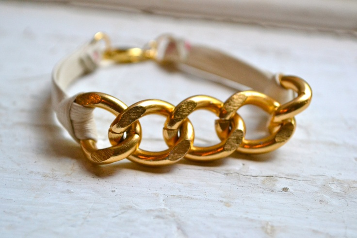 chunky gold curb link chain bracelet with ivory genuine leather ties. via Etsy.