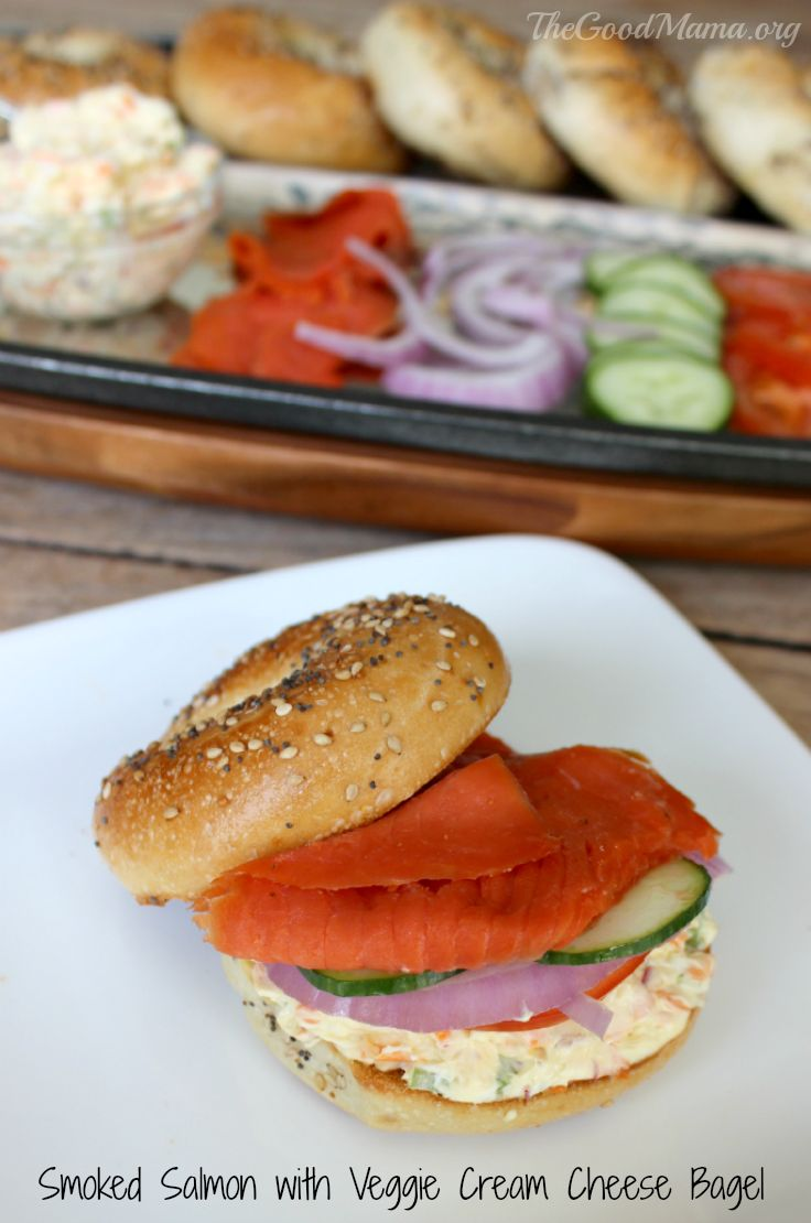 Smoked Salmon with Veggie Cream Cheese Bagel RecipeThe Ultimate Party Week 55