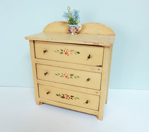 Vintage Child's Toy Doll Dresser Bureau Chest with 3 Drawers, Yellow Paint and Red Rose Stencils