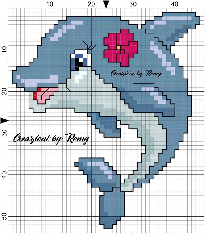 Schema delfino femmina punto croce