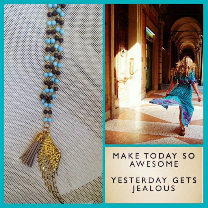 Handmade long necklace with pearls designed by Elli lyraraki