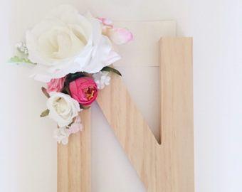 Purple floral wooden letter floral name letter flower