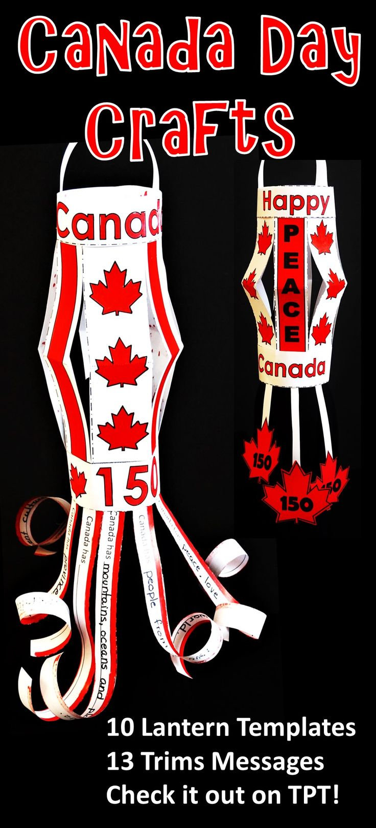 Canada Day Craft  :: Canada 150  Celebrate Canada Day with this great Canadian craft.  Use as a ceiling decoration, wind sock, kite and research project all rolled into one kid-friendly, teacher-easy Canada Day craftivity.  Templates include Canada Flag, Maple Leaves, and Canadian Anthem.  This craft is also appropriate for Victoria Day and Canada 150 Celebrations  Check out my TPT store to see everything included! Happy Canada Day!