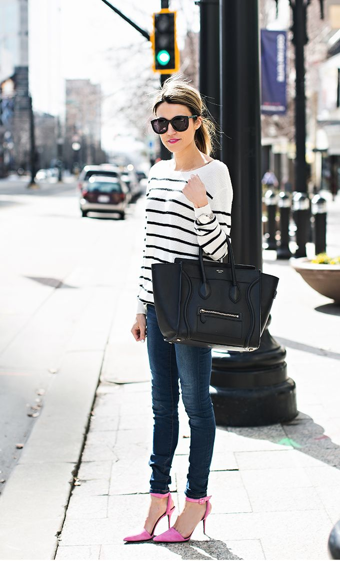 Striped sweater | Pink pumps | Black Celine