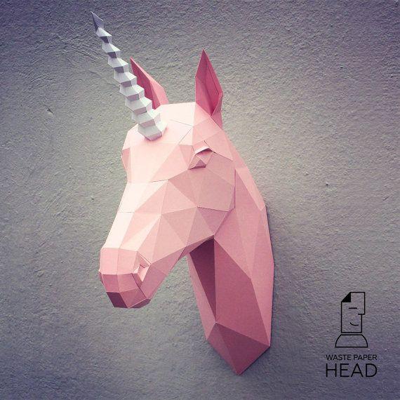 Le gabarit dimpression tête de licorne par WastePaperHead sur Etsy