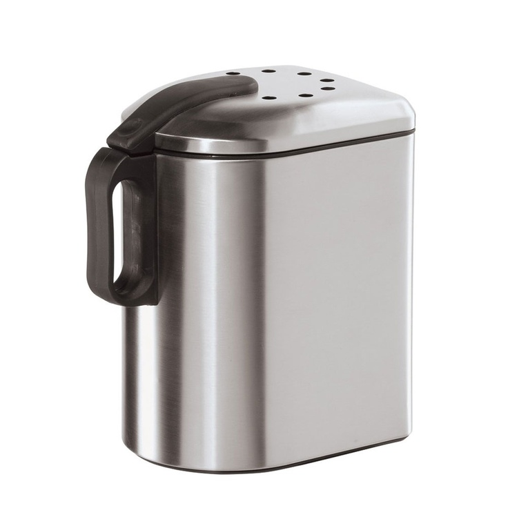 Stainless Steel Countertop Compost Pail with Charcoal Filter: Countertops Compost, Ez Open Lids, Compost Pail, Delux Countertops, Kitchens Food Storage, Charcoal Filters, Organizations Kitchens, Stainless Steel Countertops, Oggi Delux